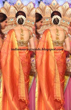 i'd calm down on the number of tassles, but pretty concept in general! South Indian Sarees, South Indian Bride, Wedding Saree Blouse Designs, Saree Wedding, Indian Attire, Indian Wear, Indian Dresses, Indian Outfits, Dream Marriage