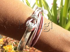 women pink leather bracelet sterling silver plated half by kekugi, $26.00