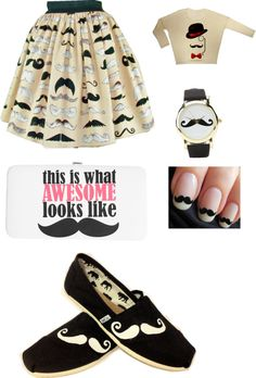 """""""mustache!!!!!:)"""" by nnennaike ❤ liked on Polyvore"""