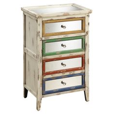 Weathered 1-drawer wood chest with a faux drawer-front door.  Product: Accent chestConstruction Material: Wood, ...