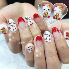 Nails art 2019 cny 20 New Ideas New Year's Nails, Red Nails, Hair And Nails, Glitter Nail Art, Gel Nail Art, Spring Nails, Summer Nails, New Years Nail Art, Flower Nail Art