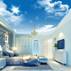 Free Shipping Modern creative 3D blue sky and white clouds ceiling living room sofa wallpaper mural