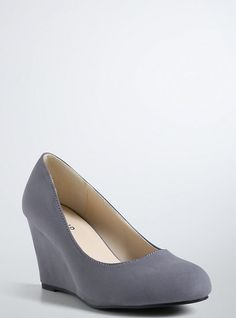 Plus Size Mini Solid Wedges (Wide Width), GREY