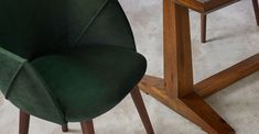 Set of 2 Lule Carver Dining Chairs, Otter Grey Velvet and Walnut Otter, Dinning Table, Dining Chairs, Recycled Plastic Adirondack Chairs, Garden Table And Chairs, High Back Chairs, Wal, Occasional Chairs, Green Velvet