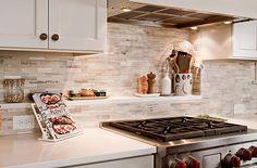 Small Kitchen Ideas:  Backsplash Shelves (and nice backsplash tiles)