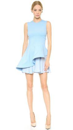 Asymmetric baby blue dress