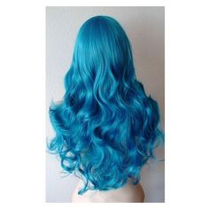 Dark Teal blue wig. Long curly volume hair long side bangswig. Futuris ❤ liked on Polyvore featuring beauty products, haircare, hair styling tools and curly hair care