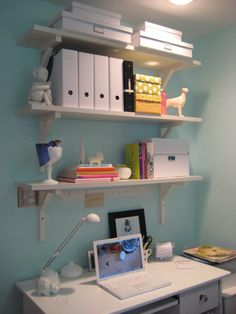 Home Office Organization - use magazine folders and boxes to keep bills, papers, forms, etc. neat and organized