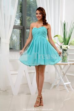 turquoise bridesmaid dresses | Turquoise A-Line Sweetheart Short/ Mini Chiffon Bridesmaid Dress ...