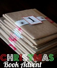 Christmas Book Advent. Simply wrap a favorite Christmas story. One for each day leading up to Christmas Eve. #christmas #advent #hotm
