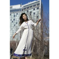 White, long sleeved traditional Ethiopian dress with blue and red cross embroidered motif - Wear We Love - Ethiopia