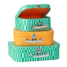 Bon Voyage Suitcase Set (Green Pattern)  | The Land of Nod