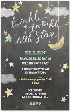 twinkle little star baby shower invitation