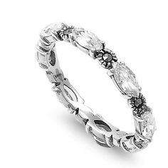 Janets Tension Set Emerald Cut Ruby Cubic Zirconia Eternity Ring