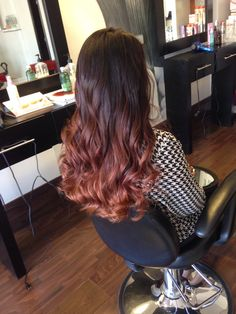 Copper brown balayage ombre hair design