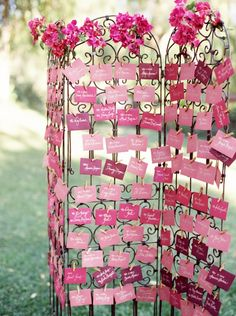Wedding escort card display | #escortcards #placecards #seatingchart