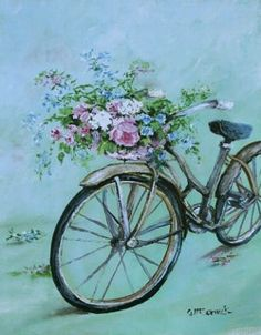Ready to Hang Print - Romantic Vintage Bike - POSTAGE is included Australia wide