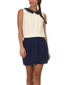 Look at this Off-White & Navy Erin Dress on #zulily today!