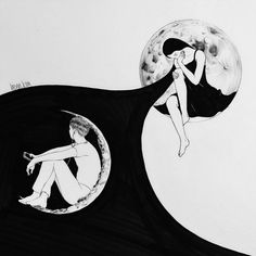 The art of love kunst art, dessin und illustration noire Art And Illustration, Illustrations, Yin Yang, Psychedelic Art, Art Sketches, Art Drawings, Henn Kim, Fantasy Magic, Art Of Love