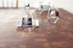 no stem wine glasses with chalkboard paint