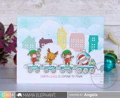 Mama Elephant - Little Agenda Trains - Pyssloteket Homemade Christmas Cards, Christmas Tree Cards, Xmas Cards, Kids Christmas, Christmas Ornament, Holiday Cards, Mama Elephant Stamps, Elephant Design, Design Blog