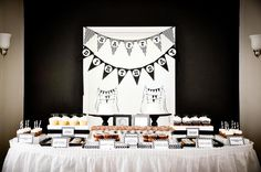 Black and white mustache birthday bash. #birthday #party #dessert #table