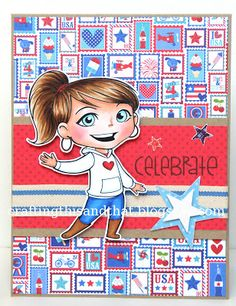 Red, white, blue and kraft card featuring Yumi by Eva U.