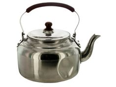 """3-Liter Aluminum Tea Kettle Boil water quickly for hot drinks and soups with this 3-Liter Aluminum Tea Kettle. Lightweight aluminum construction with a cool touch plastic handle and lid knob. Measures approximately 9"""" x 8.25"""" x 7"""" including handle. Comes packaged in an individual box. Package measures approximately 8"""" x 8"""" x 5.25""""."""