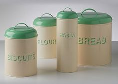 Chronically Vintage Perfectly Looking Enamel Kitchen Canister Set