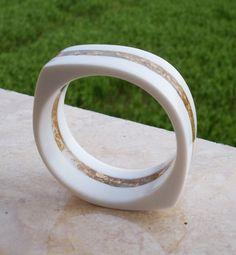 Resin Bangle Bracelet: White and Gold Leaf, via Etsy.