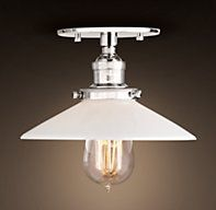 Restoration Hardware's 20th C. Factory Filament Milk Glass Flushmount - Polished Nickel:Evoking early-20th-century industrial lighting, our reproductions of vintage fixtures retain the classic lines and exposed hardware of the originals. Designed to showcase the warmth of Edison-style filament bulbs.