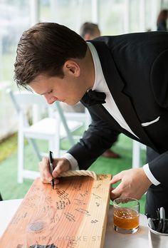 Brides.com: . Have guests write their best wishes on a wooden swing — a sweet way to bring your wedding-day memories with you if you're moving into a new home.