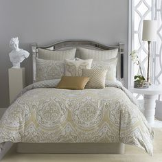 Add a pop of pattern to your master suite or guest room with this lovely 4-piece comforter set, featuring a medallion-inspired motif and neutral hue.