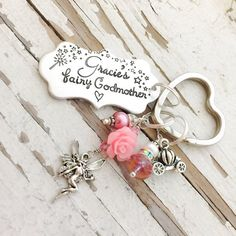 Fairy Godmother keychain hand stamped godmothers are a blessing thank you for being mine christening gift god mother key chain baptism Godmother Gifts, Fairy Godmother, Boy Baptism, Christening Gifts, Baptism Party Decorations, Godparent Gifts, Jewelry Crafts, Wire Crafts, Engraved Gifts