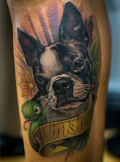 Portrait tattoo of my Boston terrier, Winston. Along with his favorite toy snake.