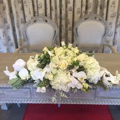A stunning wedding ceremony arrangement Filled with hydrangeas, roses, orchids and campanulas Wedding Bells, Wedding Ceremony, Wedding Decorations, Table Decorations, Bridezilla, Table Flowers, Hydrangeas, Wedding Styles, Orchids