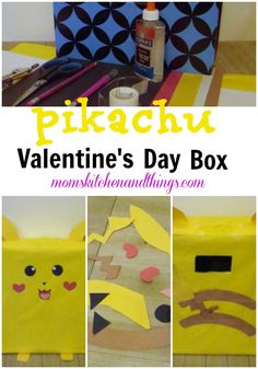 This was a really fun and easy box to make. Pikachu is my youngest daughter's favorite. So of course we had to make one. We just added a little Valentine's Day fun by making his chee… Pokemon Valentines Box, Valentine Boxes For School, Diy Valentines Cards, Little Valentine, Valentines For Boys, Valentine Day Crafts, Pikachu, Diy Valentine's Card Box, Crafty