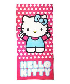 Hello Kitty is here to keep your little one warm and cozy after a dip in the water! With a bright print and comfy cotton construction, this beach towel is sure to stand out. Hello Kitty, Pool Towels, Pink Polka Dots, Warm And Cozy, Beach Towel, Trips, Beer, Fictional Characters, Art