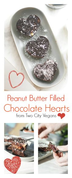 EASY and delicious treats. Perfect for valentine's day! Click the link for the recipe! http://www.twocityvegans.com/2016/02/chocolate-hearts/