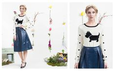 Floral Fancy Mini Look Book with our Scottie Sweater and Faux Navy Midi Skirt