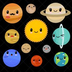 Great free clipart, png, silhouette, coloring pages and drawings that you can use everywhere. Clipart, Drawing For Kids, Art For Kids, Arte Do Sistema Solar, Kawaii, Planet Drawing, Solar System Projects, Planet For Kids, Systems Art