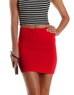 High-Waisted Bodycon Mini Skirt: Charlotte Russe #bodycon #red #miniskirt #skirt