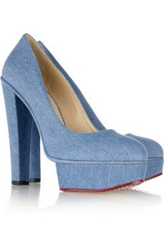 Greta denim platform pumps