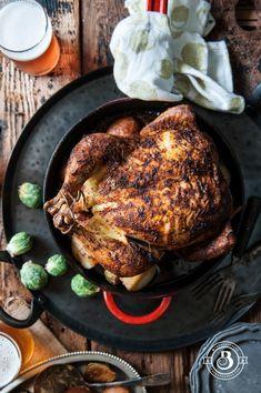 Beer Brined Faux-tisserie Roast Chicken