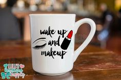 Items similar to MakeUp Mug, Wake Up and Makeup Coffee Cup, MakeUp Coffee Mug,Custom Coffee Mug, Lipstick and Eyelashes on Etsy Best Iced Coffee, Hot Coffee, Coffee Cups, Tea Cups, Coffee Tasting, Coffee Drinkers, Boss Mug, Fathers Day Mugs, Mug Printing