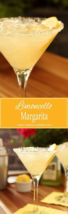 Definitely with some pucker power; this Limoncello Margarita is the perfect summer libation! via Definitely with some pucker power; this Limoncello Margarita is the perfect summer libation! via Creative Culinary Cocktail Margarita, Cocktail Drinks, Cocktail Recipes, Mojito, Drink Recipes, Cocktails Halloween, Summer Cocktails, Non Alcoholic Drinks, Beverages
