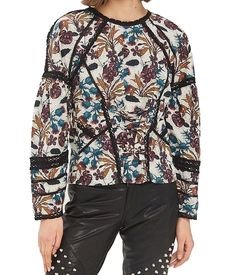 3213d88f8ea 42.97 | TopShop NEW Black Women's Size 2 Floral Print Lace-Detail Trim  Blouse