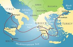 This is a map showing the different destinations and routes used in The Odyssey. This is easy to decipher and can be helpful to see the different locations, since there are many it can get a little confusing. ~Easy~