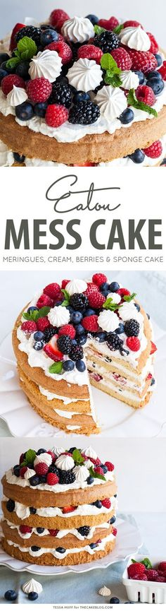 Mess Cake with crisp meringues, sweetened cream and fresh berries. A refreshing cake for spring and summer celebrations.Eaton Mess Cake with crisp meringues, sweetened cream and fresh berries. A refreshing cake for spring and summer celebrations. Baking Recipes, Yummy Recipes, Sweet Recipes, Dessert Recipes, Yummy Food, Summer Cake Recipes, Baking Desserts, Eton Mess Cake, Nake Cake