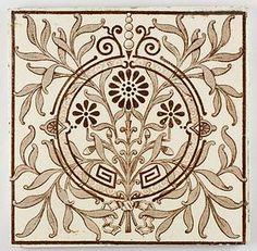 Antique English Victorian Aesthetic Movement tile 1880